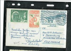 GUATEMALA COVER (P1809B) PPC WITH UNESCO+2 OTHER STAMPS TO GERMANY