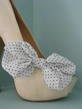 2 White Spotted Chiffon Bow Clips for Shoes