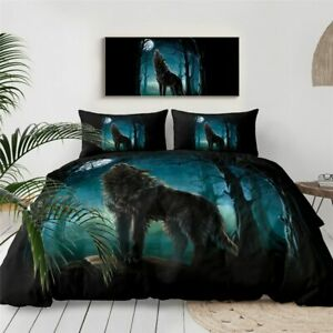 Full Moon Forest Wolf Animal King Queen Twin Quilt Duvet Pillow Cover Bed Set