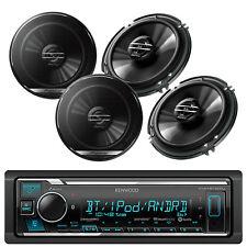 "Kenwood car iPod Bluetooth USB AUX Mp3 Radio, 4 Black Pioneer 6.5""  Car Speakers"