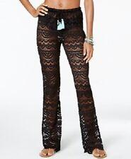 NWT Miken Swim Swimsuit Cover Up Pants Size M Black Adj. Waist Lace Crochet