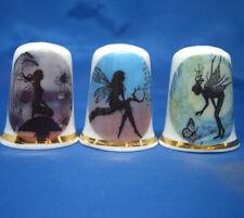 Birchcroft China Thimbles -- Set of Three -- Enchanted Fairies