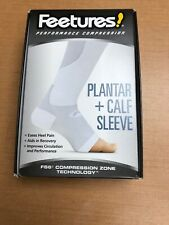 Feetures! Plantar Fasciitis Calf Sleeve Pair White Large Compression New