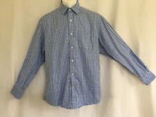 Johnston & Murphy M Tailored Fit Mens Blue White Checkered Dress Shirt (257)