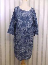 JJill size 14 Linen Short Sleeve Blue Floral Dress NWT