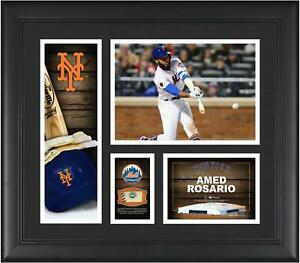 """Amed Rosario NY Mets Frmd 15"""" x 17"""" Player Collage with a Piece of GU Ball"""