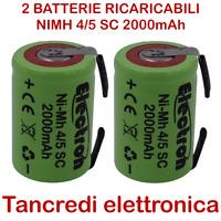 2x Batteria ricaricabile NiMh 4/5 SC 1,2V 2000mAh terminali saldare lamelle tabs