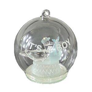 Its A Boy Globe Light Up Baby Shower Handblown Glass Keepsake Stork
