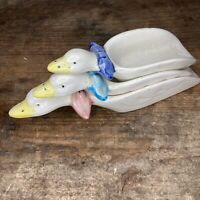 3 Vintage Country Kitchen Stackable Ceramic Duck Measuring Spoons Scoopers Cups