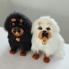 a pair cute simulation dog model resin&fur small Tibetan mastiff dolls 11x8x13cm
