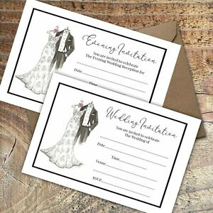 WEDDING INVITATIONS BLANK CLASSIC BRIDE & GROOM DAY & EVE,PACKS OF 10