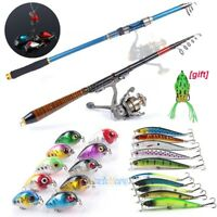 20x Fishing Lures Crankbaits Treble Hooks Tackle Bass Minnow w/ Fishing Rod Pole
