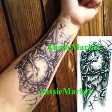 f5d389590 1 x temporary tattoo sticker sheet clock party body art fancy dress arm  sleeve