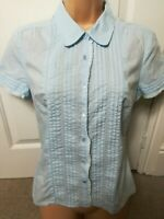 LAURA ASHLEY baby blue buttoned ladies cotton shirt 10UK,36EUR,6USA A3