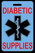 Sky Blue DIABETIC SUPPLIES Luggage/Gear Bag Tag - FREE Personalization - New