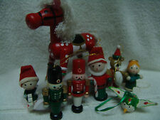 VNTG LOT OF 20 + WOODEN CHRISTMAS ORNAMENTS  MAY DIFFRENT FIGURES FREE SHIPPING