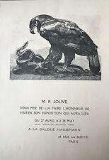 JOUVE PAUL  CARTON D'INVITATION POUR L'EXPOSITION A LA GALERIE HAUSSMANN