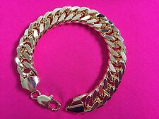 "15mm 10"" 18K Gold Plated Men's Chunky Chain Bracelet Fashion Birthday Present"