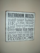 shabby vintage chic plaque bathroom rules sign typography toilet sign