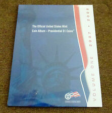 Official US Mint Presidential Dollar Coin Album, Vol 1, 2007 - 2008, New, Sealed