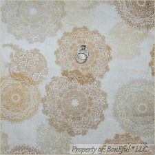 BonEful Fabric FQ Cotton Quilt Tan VTG Victorian Shabby Chic Lace Natural Flower