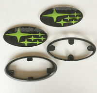 Subaru Glossy Head & Boot/ Front & Rear Sporting Badge With Frame! STi WRX Green