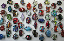 Wholesale Lots 40pcs Charm Jewelry Big Colorful Mixed Natural Stone Women Rings