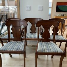 New listing Henkel Harris 100S Queen Anne/ Mcm Walnut Dining Chairs 4 Side +1 Captain Vtg
