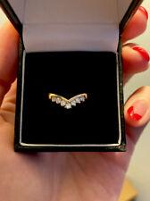 Vintage 18ct Yellow Gold Multi Diamond Wishbone Ring