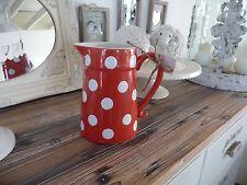 Milch Kanne Blumen Vase Rot Weiße Pünkchen Retro Keramik 18 x17 x12cm Shabby NEU