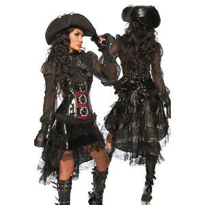 Volant Rock Damen Steampunk Gothic Pirat Piratin Spitze Kostüm Schwarz 34-44