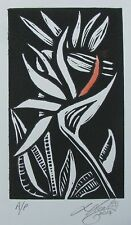 "LYNN KEATING AUSTRALIAN LINOCUT ""BIRD OF PARADISE FLOWER"" 2014 EDIT A/P"
