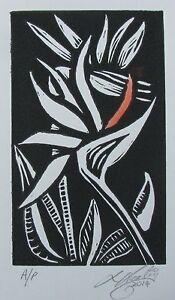 "LYNN KEATING AUSTRALIAN LINOCUT ""BIRD OF PARADISE FLOWER"" 2014 EDIT A/P"