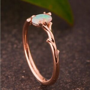 Women Gorgeous Rose Gold Rings Wedding Jewelry Oval Cut Opal Ring Gift Size 9