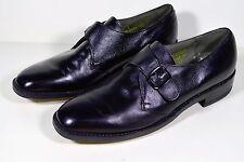 Vintage French Shriner Men's 10 B Black Leather Monk Strap Loafers Dress Shoes