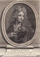 Portrait XVIIIe Benoît Audran le Vieux Peintre Graveur Peinture Gravure