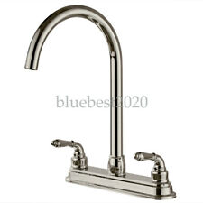 2-handle Kitchen Fixed Faucet Stainless Steel Kitchen Sink Switch Tap 13 inch