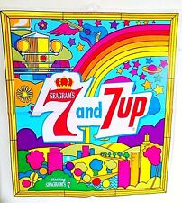 VINTAGE 1960'S SEAGRAMS - SEVEN-UP BLOW-UP ADVERTISING PILLOW, PETER MAX