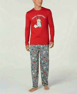 Family PJs Men's Happy Pawlidays Pajama Set  L