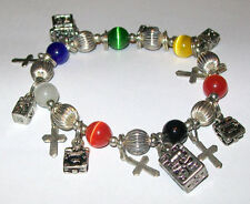 Sterling Silver 925 Prayer Box Cross Bead Charm Bracelet