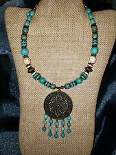 Natural Turquoise ,Round Gems Beads & White turquoise Necklace 11inch.