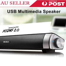 USB Multimedia Audio Stereo Sound Bar Soundbar Speaker For Computer PC Laptop