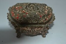 Vintage Metal Trinket Rose Flower Jewelry Box