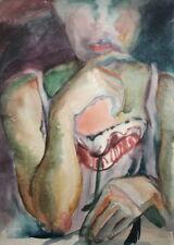 Vintage surrelist watercolor painting woman portrait