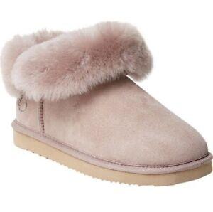 Dearfoams Genuine Shearling Slipper Fold Down Boot Dusty-Pink Size 7~10 Fireside