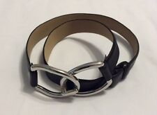 The LIMITED Women's Black Leather Belt w/Silvertone Chunky Clasp Adj. Size S