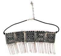 Indian Ethnic Vintage Boho German Silver Tribal Oxidized Gypsy Choker Necklace