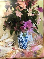 "Flowers Blue White Vase Fine Art print Tea Cup 8x10"" Peach White Pink Green NEW"