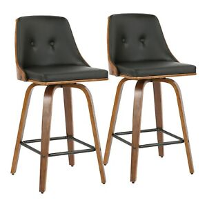 "OPEN BOX Gianna 26"" Counter Stools in Black Faux Leather & Walnut (Set of 2)"