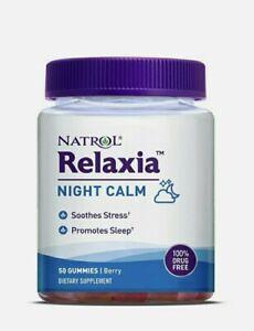 Natrol RELAXIA Night Calm, 50 Gummies Berry Non-GMO Gluten Free (Exp:: Feb 2022)
